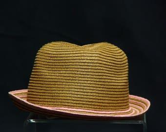 Vintage Woven Tan & Pink Hat
