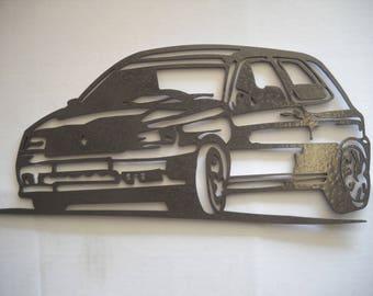 Plaque enseigne RENAULT CLIO williams en fer finition peinture effet martelé