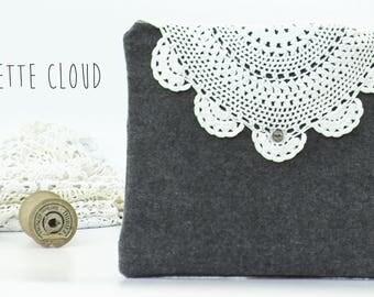 Pochette Boho Gris Laine d'Hiver avec Crochet Vintage