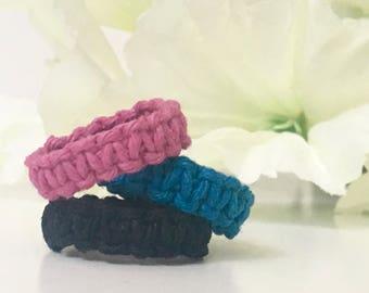Hemp Ring - Colorful Ring - Hemp Jewelry - Macrame Jewelry - Fun Ring