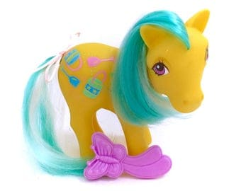 G1 My Little Pony Sand Digger COMPLETE Twice As Fancy Color Changing Hair Ponies Sunshine Sunlight TAF 80s Hasbro Yellow Sand Buckets Beach
