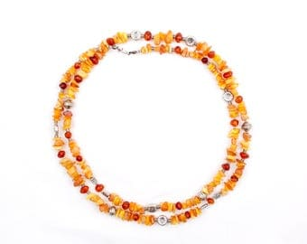 Long sunny artisan amber and coral 125 cm