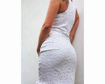 Dress short white lace - Pink White
