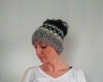 50% OFF SALE Knit Ponytail Hat, Messy Bun Hat Knit, Hat For Ponytail, Fair Isle Bun Hat - Grey Marble