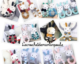 Rattle Bunny/lapinette or cat/kitten with Bell 100% customizable (color message me)