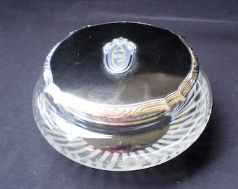Antique Dresser Vanity Bowl Cut Glass with Chrome and Black Enamel top-1940's