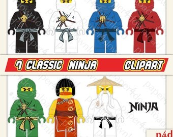 Seven Ninja - Clipart minifigs - Digital Collage, PNG files, Instant Download