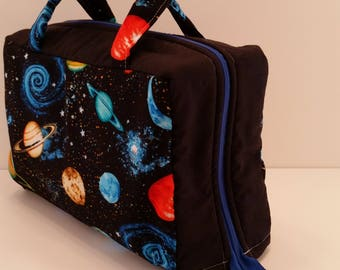 Space Theme Lunch Tote Opening Into a Tray.