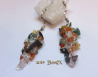 Earrings cluster of stones to choose from, Aventurine or Multi-Gemmes, grapes, jewelry, Zen jewelry, check, gift woman