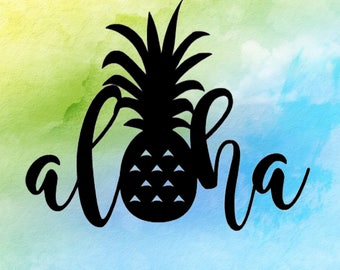 Aloha Pineapple Sticker ~ Hawaii Sticker ~ Pineapple Sticker ~ Hawaii Decal ~ Aloha Pineapple Decal