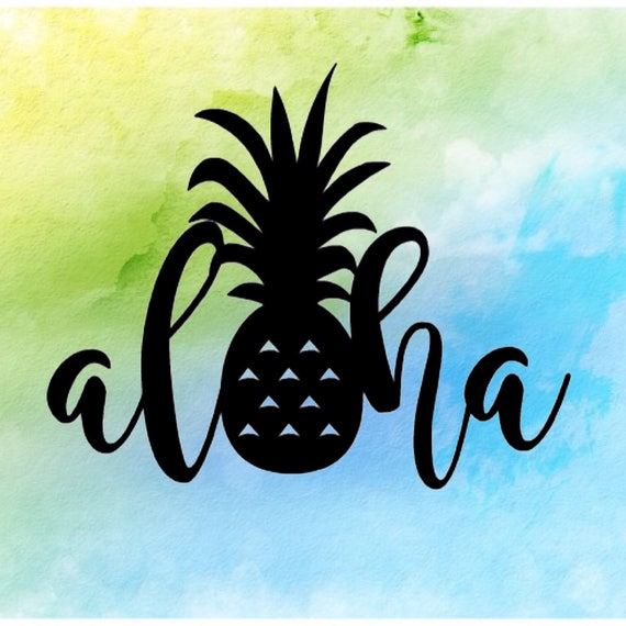 aloha pineapple sticker hawaii sticker pineapple sticker. Black Bedroom Furniture Sets. Home Design Ideas