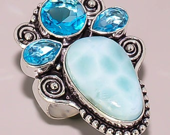 602 Caribbean Larimar Blue Topaz Beautiful Handmade Design .925 Sterling Silver Plated Jewelry Ring