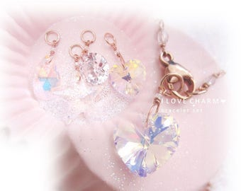 I LOVE CHARM BRACELET  set in Rose Gold with 4 Sparkling Charms ~ I Love Charm collection by Oystah!