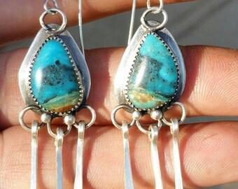 Southwestern gypsy dangle earring. Turquoise dangle earrings. Gypsy earrings. Southwest earrings. Long earrings. Silver earrings. Gemstone