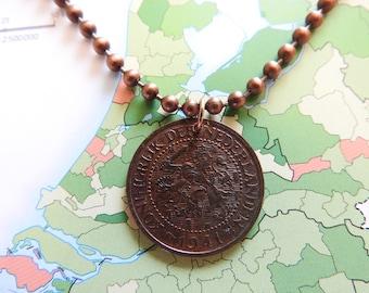 Netherlands 1941 vintage coin necklace - original 2,5 cent - birth year - Amsterdam - wedding present - 77th birthday