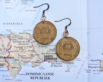 Dominican Republic coin earring - made of original coins - island - traveling present