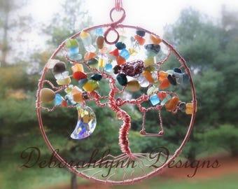 CUSTOM Tree Of Life Suncatcher, Pick your colours, Friend gift, family tree, Sunjewel, Window Decoration,