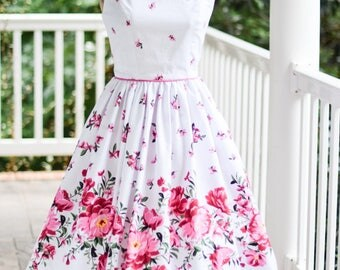1950's , Vintage Style, floral border print, gathered skirt, linguini straps, pink, white