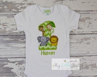 Safari First Birthday Shirt/ Jungle Birthday Shirt/ Zoo Birthday Shirt/ Zoo Shirt/ Safari Shirt/ Animal Birthday