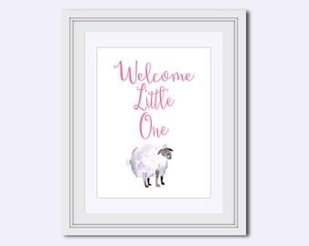 girl nursery art - Nursery Wall Art - baby girl print - nursery design - Welcome little one print - baby shower gift - watercolor lamb
