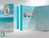 Oceanic Funeral Program Large Publisher Template 4 Pages ( 6 Color Background Files Included )