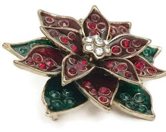 Vintage Monet Christmas Poinsettia brooch, Red, green, gold-tone with rhinestones and Beads Holiday brooch, Christmas brooch