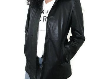 Black GAP Jacket Genuine Leather and Wool Inside Size Extra Small