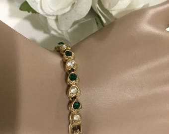 Metal Gold Tennis Bracelet Heart Bracelet with Crystal Stones Green and Clear