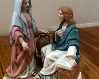 "Vintage Religious Figure of Jesus and the Samaritan Women Easter Decoration ""The Greates Stories Ever Told"""
