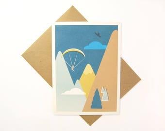 Postcart / mountain illustration / paragliding person