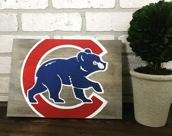 Hand-painted aged wooden cubs wall hanging - ready to hang