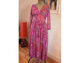 1970's Paisley Maxi Party Dress by Berketex