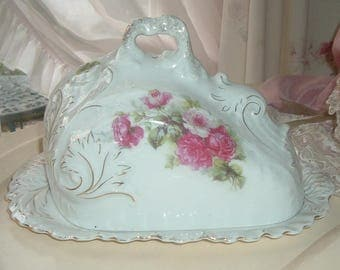 Covered cheese dish white with pink roses