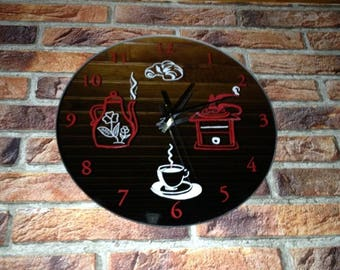 mirror engraved kitchen clock