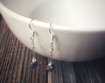 Iolite Chip Sterling Silver Earrings