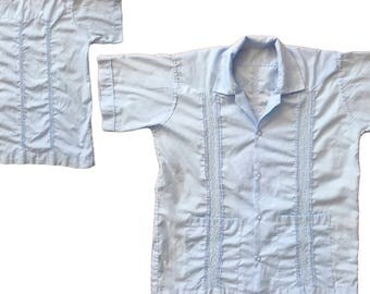 Vintage Large Boy's Blue Guayabera Shirt