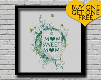 Cross Stitch Pattern Mom Sweet Mom Gift Modern Ornament Minimal Decor Mother's Day Gift Idea PDF Pattern
