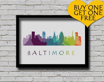 Cross Stitch Pattern Baltimore Maryland City Silhouette Watercolor Effect Decor Embroidery Modern Skyline Art xstitch Diy Chart