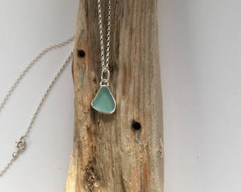 Turquoise Seaglass Necklace, Seaglass Necklace, Sea Glass Jewelry, Turquoise Seaglass Pendant, Sea Glass Pendant