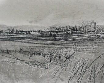 Nature, trees, grass, fields, monochrome, Yorkshire, acrylic, graphite, china marker, Original Art Postcard 149, fine art, grey, black