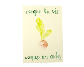 Postcard + envelope - original illustration Watercolour - vegetables - mantra and positive phrases Theme