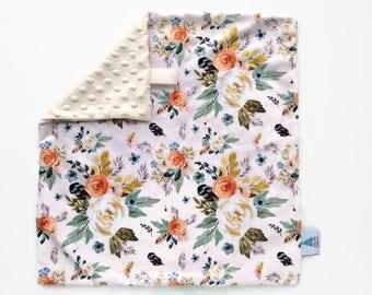 Mini blanket - Automn Floral Lovey - Baby Lovey - Security Blanket - Minky Lovey - Snuggle Blanket - Baby Shower Gift - Boho Nursery