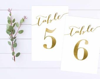 Printable Table Numbers/GoldScript Table Numbers/Gold Foil Table Numbers/1-20/ DIY Wedding/Elegant Wedding Table Numbers