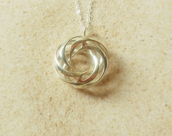 Twisted Torus  - Sterling Silver Pendant Made Using 3D Printing - MADE-to-ORDER/3D printed pendant