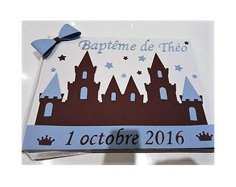 Castle christening guest book / prince - blue, Brown and white - customizable
