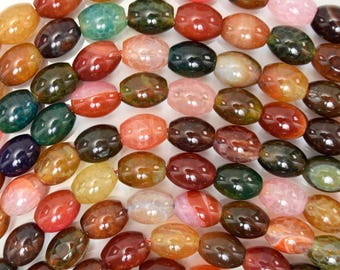 "10mm multicolor agate rice beads 15"" strand 38336"