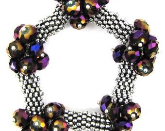 "Crystal silver plated daisy stretch bracelet 7"" purple1 11829"