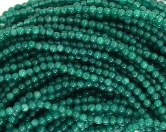 """2mm emerald green jade round beads 15.5"""" strand 35517"""