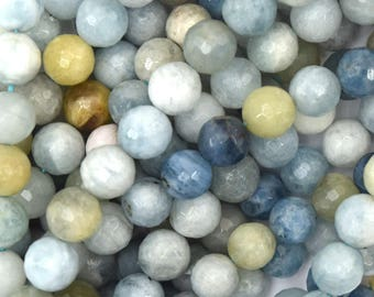 "6mm faceted blue aquamarine round beads 15.5"" strand 38528"