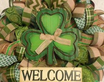 SALE Ready to ship! St. Patricks Day Wreath/ St. Patricks Wreath/ Saint Patricks Day/ St. Patricks Wreath/ St. Patricks Day Wreath/Saint Pat